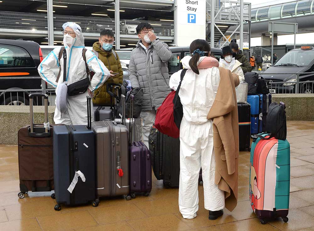 Travellers arriving at Manchester Airport on 18 January 2021