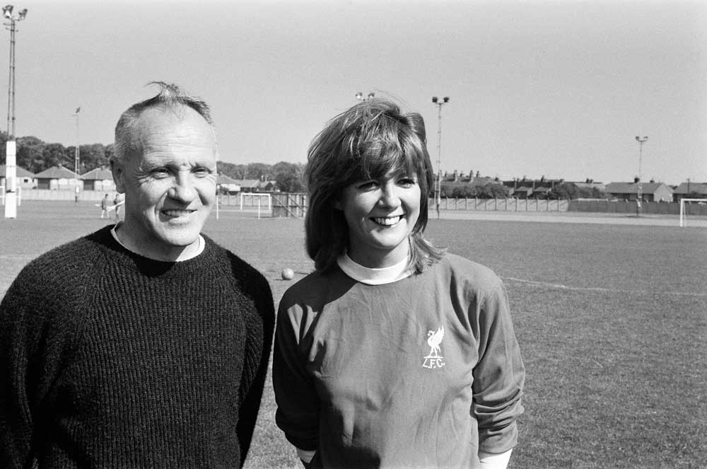 Cilla Black filming her TV show at Melwood with Bill Shankly, September 1971