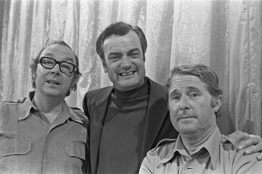 Scriptwriter Eddie Braben with Morecambe and Wise, May 1970