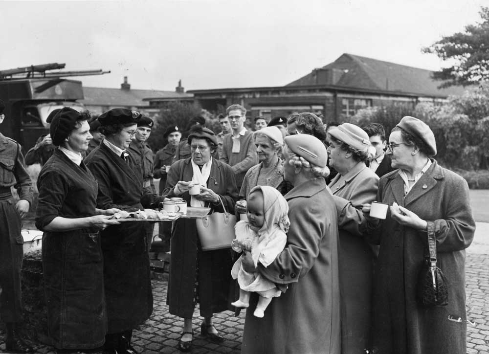 An emergency food distribution exercise at Aintree, March 1941