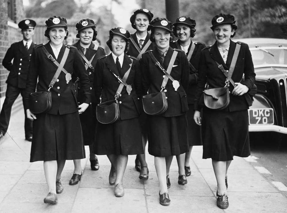 Bus conductors in training for Liverpool Corporation's transport department, July 1940