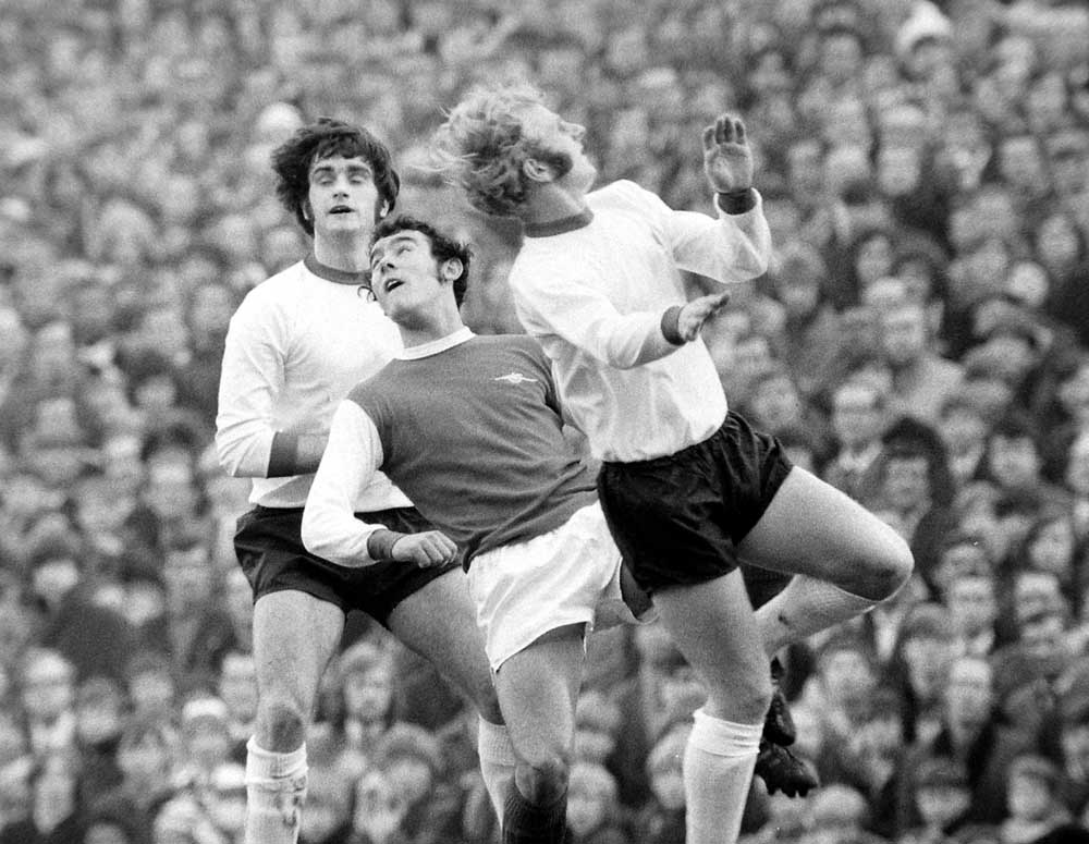 Alec Lindsay, right, and Larry Lloyd close down Arsenal's Ray Kennedy, November 1970