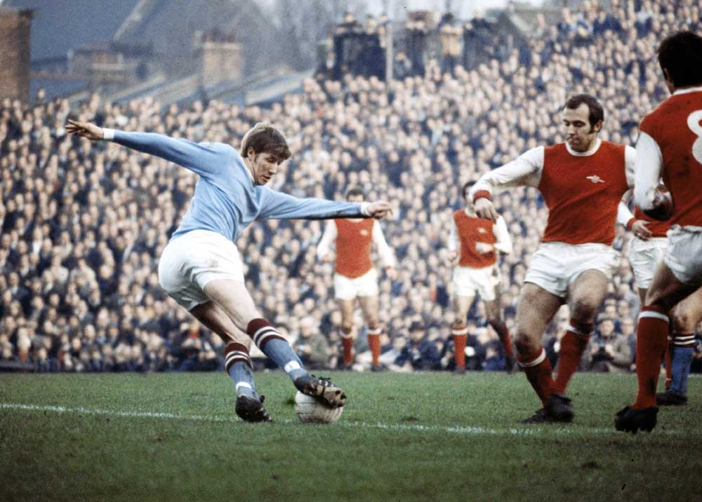 Colin Bell in action for Manchester City against Arsenal, November 1969