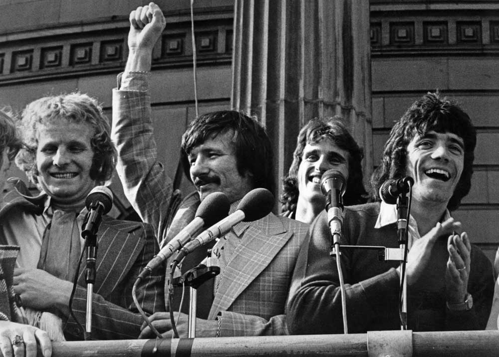 FA Cup celebrations for Alec Lindsay, Tommy Smith, Ray Clemence and Kevin Keegan, May 1974