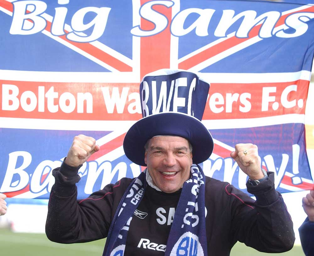 Big Sam kitted out for the League Cup final against Middlesbrough, January 2004