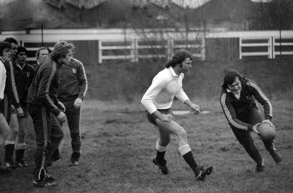 Andy Ripley, in white, training with England before playing Australia, January 1976