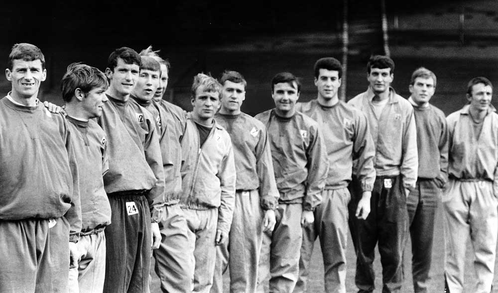 A young Colin Bell, fourth left, in training with Manchester City, December 1967