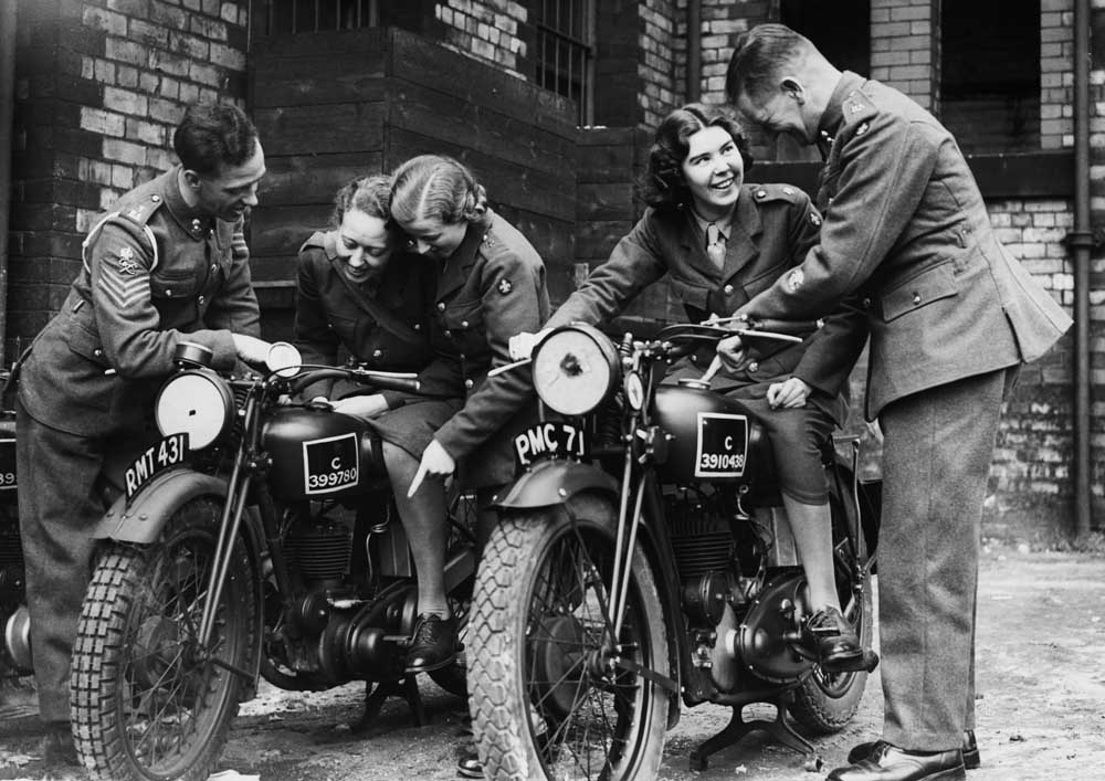 ATS women learn about motorcycles in Manchester, September 1939