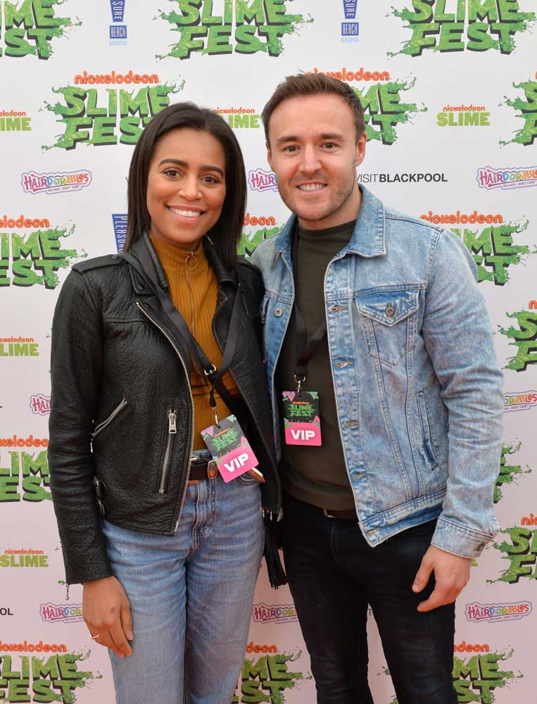 Trisha Merry and Alan Halsall at Nickelodeon's Slimefest Show, October 2019
