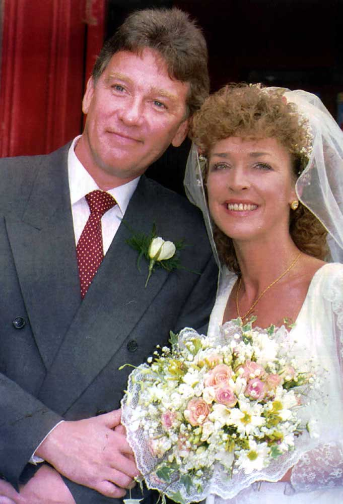 Anne Kirkbride and David Beckett at their wedding in June 1992