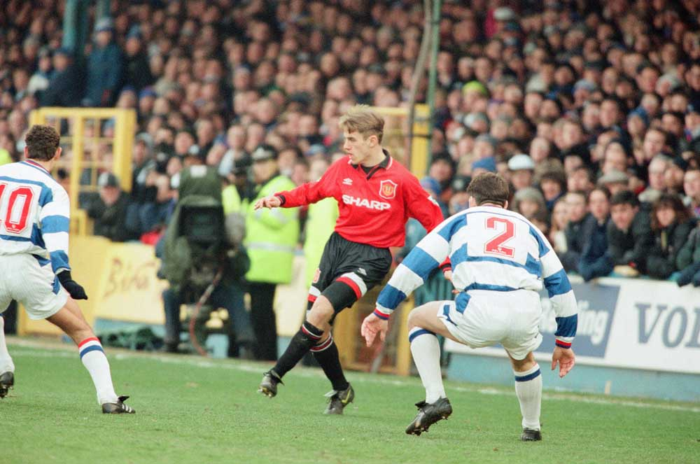 Manchester United and England player Phil Neville in action against Reading, January 1996
