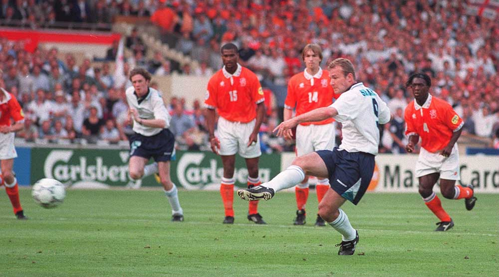 Alan Shearer scores for England in the memorable victory over the Netherlands, June 1996