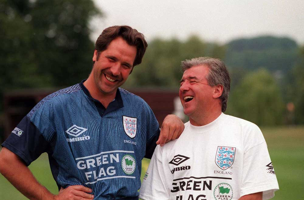 England manager Terry Venables with goalkeeper David Seaman, June 1996