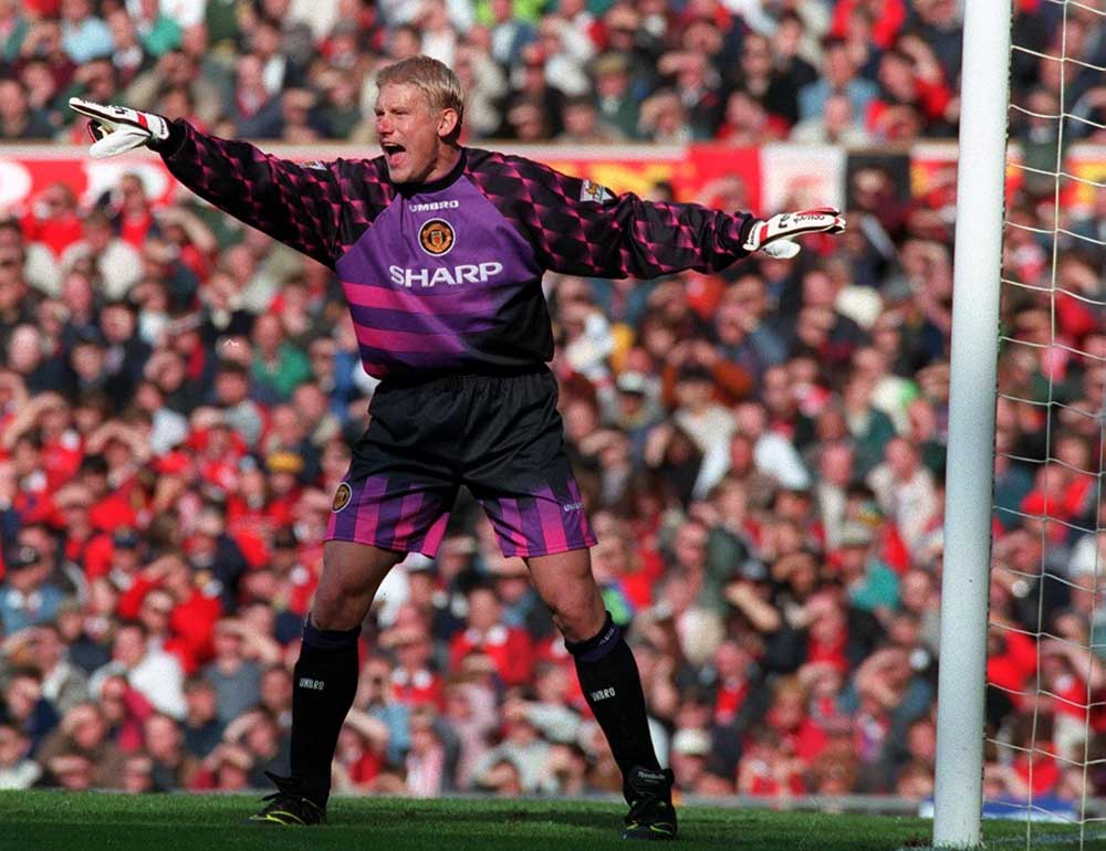 Denmark goalkeeper Peter Schmeichel playing for United against Liverpool, October 1996