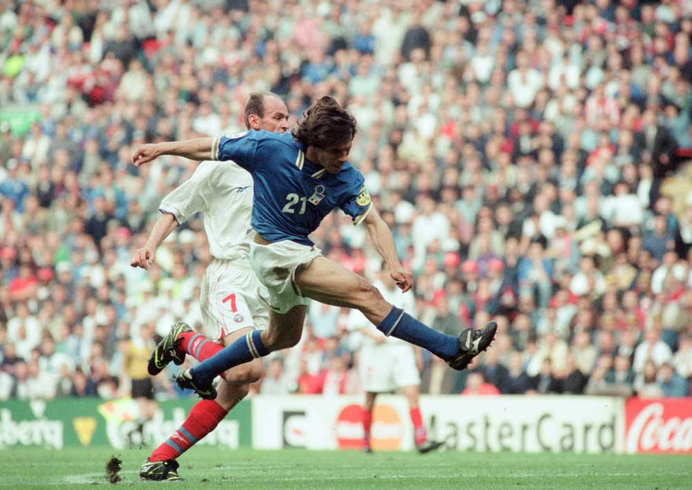 Italy's Gianfranco Zola in action against Russia during Euro 96, June 1996