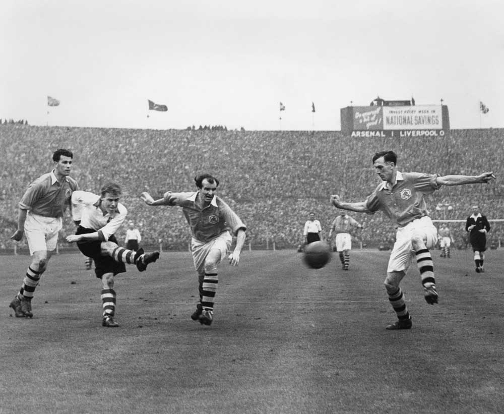 Joe Mercer, right, playing for Arsenal against Liverpool in the FA Cup Final, April 1950