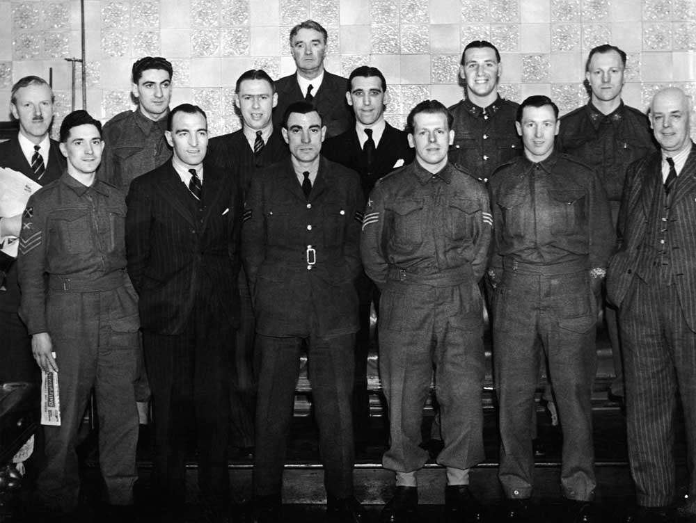 Joe Mercer, front second right, with the wartime England team, February 1941