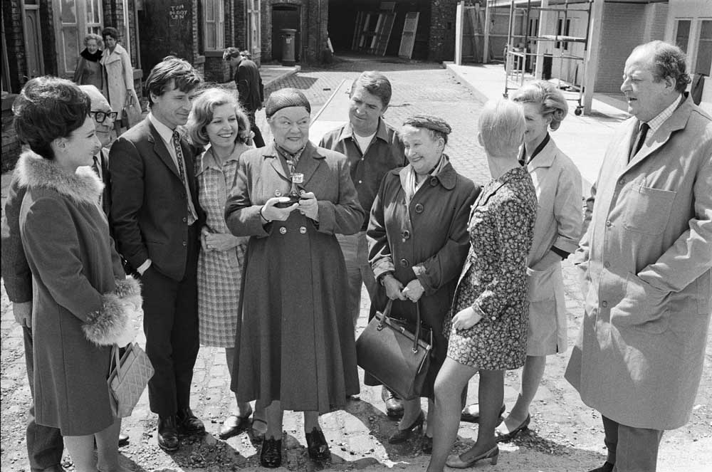 Violet Carson (Ena Sharples) in her hairnet with the cast of Coronation Street, May 1968