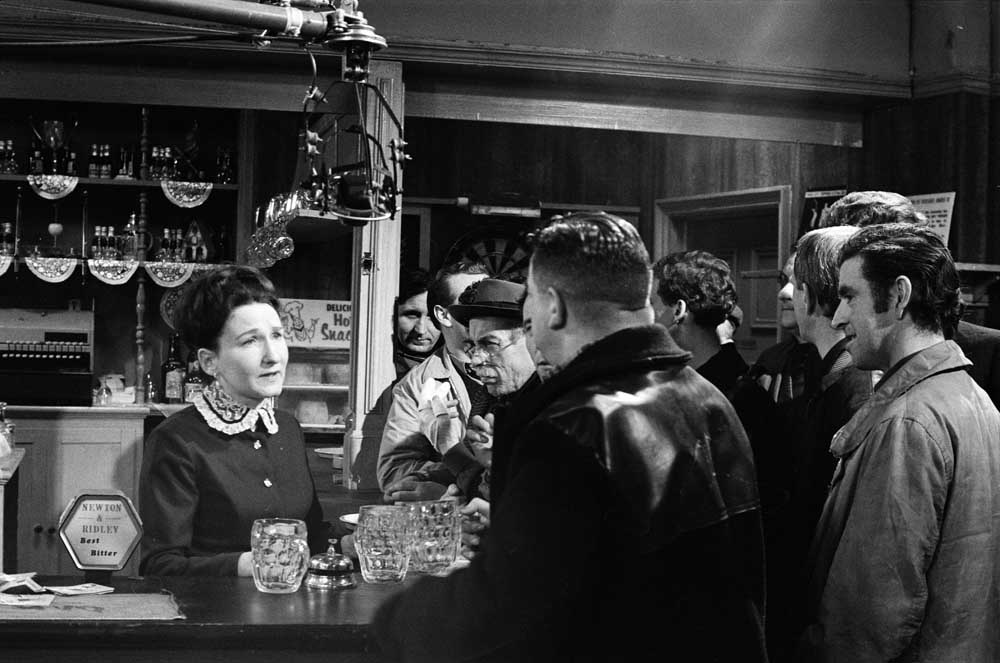 Emily Nugent (Eileen Derbyshire) working at the Rovers' bar, April 1968
