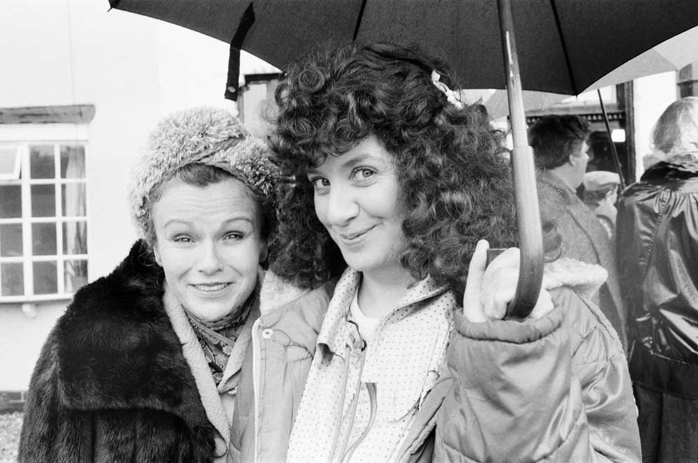 Victoria Wood, right, filming the comedy sketch Acorn Antiques with Julie Walters, June 1987
