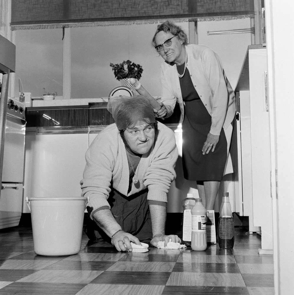 Les Dawson set to work by his real mother-in-law Ada Plant, January 1972