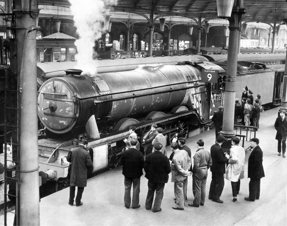 A pre-restoration Flying Scotsman at Newcastle Central station, February 1965