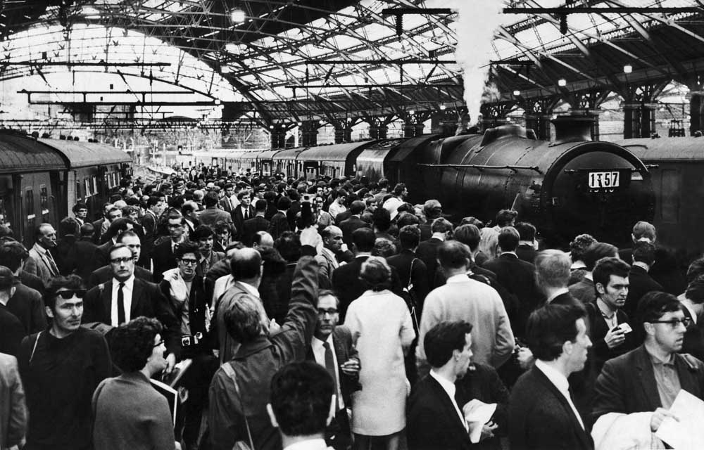 Crowds at Lime Street station witness Britain's last mainline steam service, August 1968
