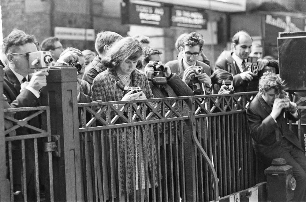 Train-spotters wait for a glimpse of the Flying Scotsman, October 1968
