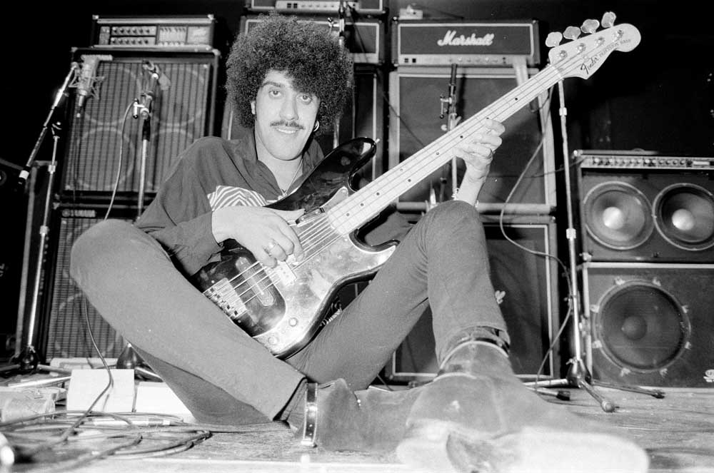 Phil Lynott of Thin Lizzy in the recording studio, September 1982