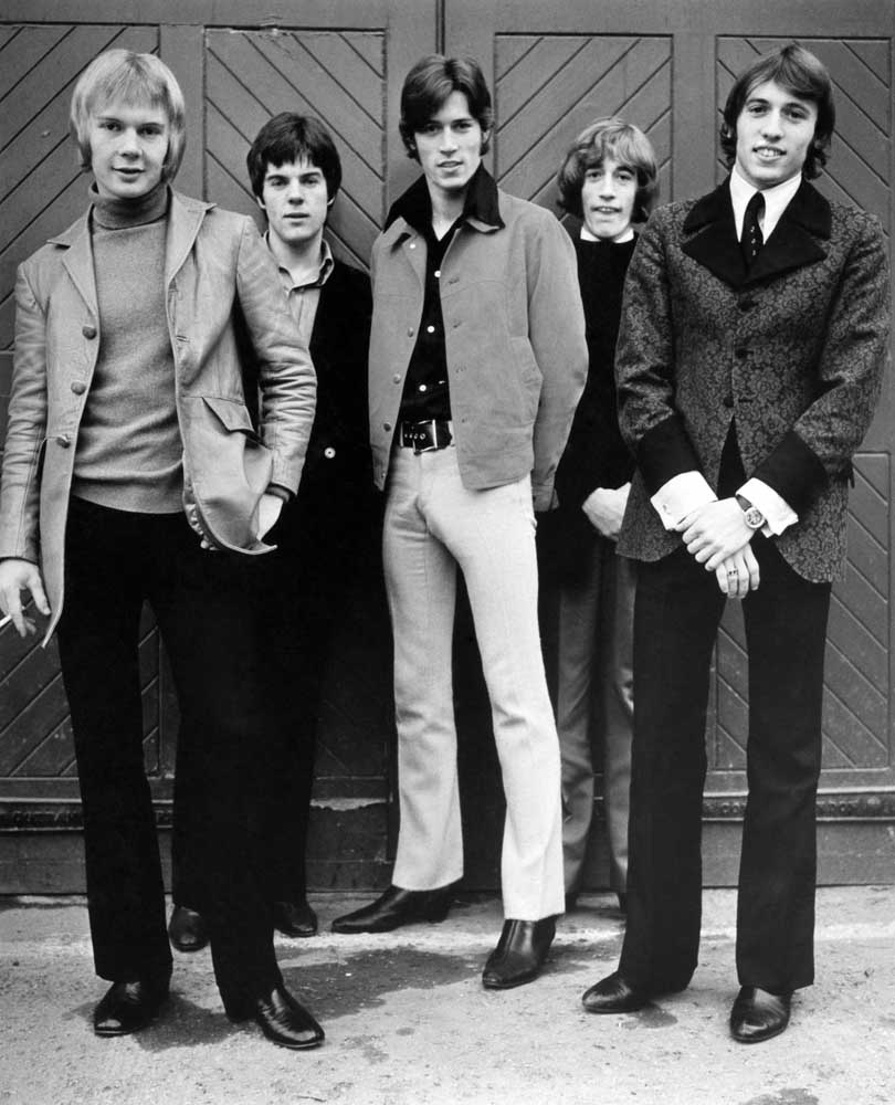The Bee Gees – drummer Colin Peterson, guitarist Vince Melouney and the Gibb brothers Barry, Robin and Maurice, June 1968