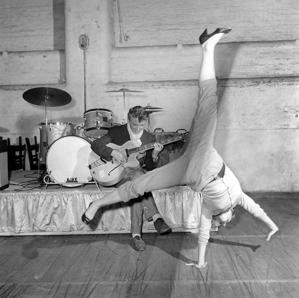 Tommy Steele rehearses for his show in Manchester, January 1956