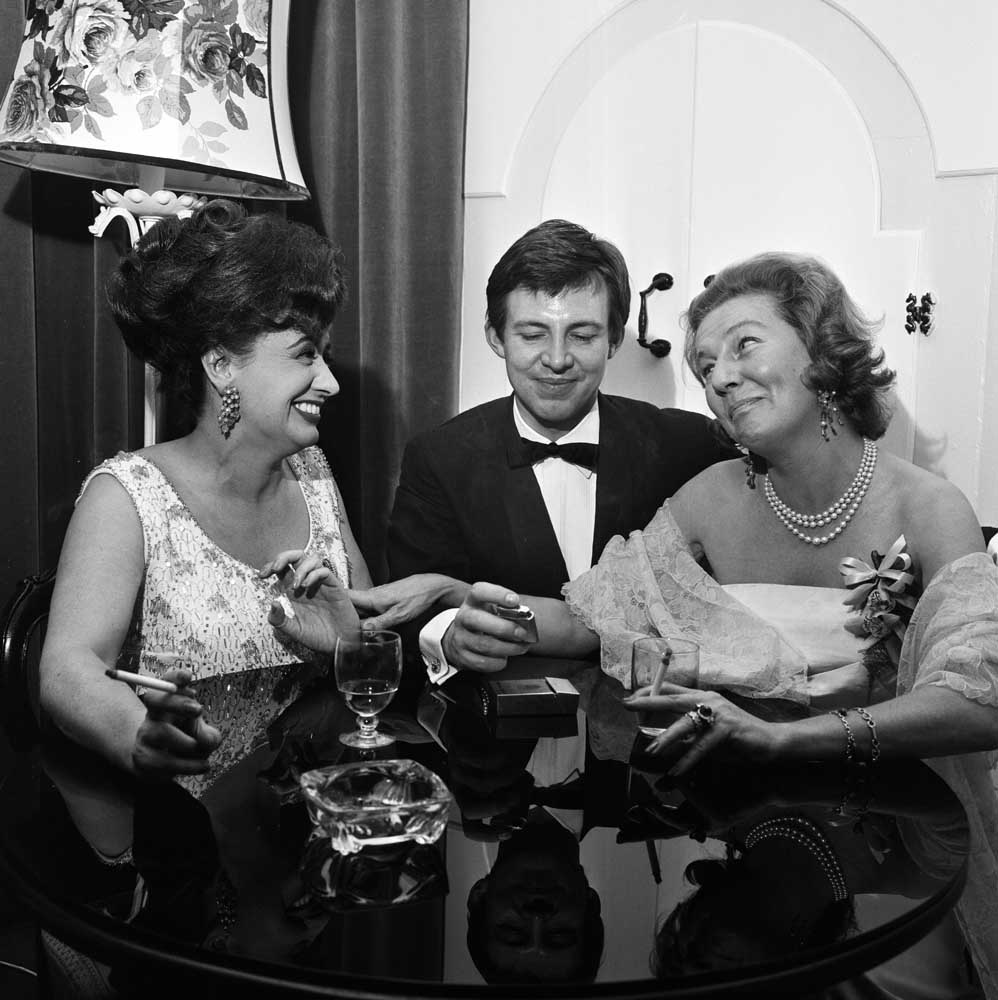 Pat Phoenix and Philip Lowrie chat with Princess Anne Bernadotte of Sweden, March 1966