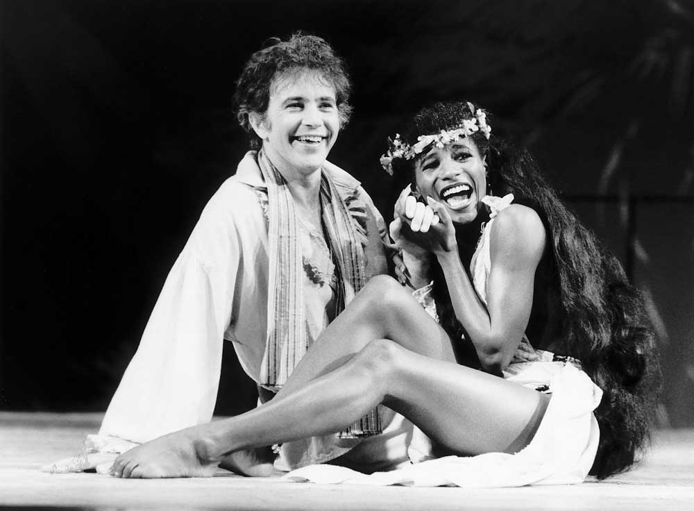 David Essex and Sinitta starred with Frank Finlay in the musical Mutiny, July 1985