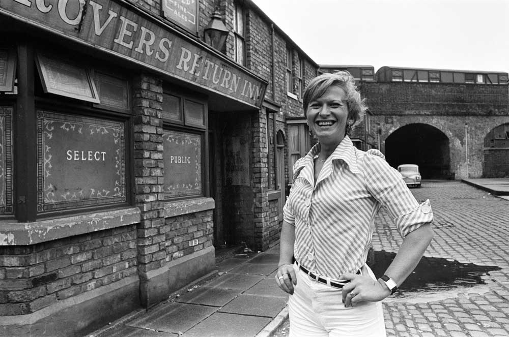 New producer Susi Hush outside the Rovers Return, August 1974