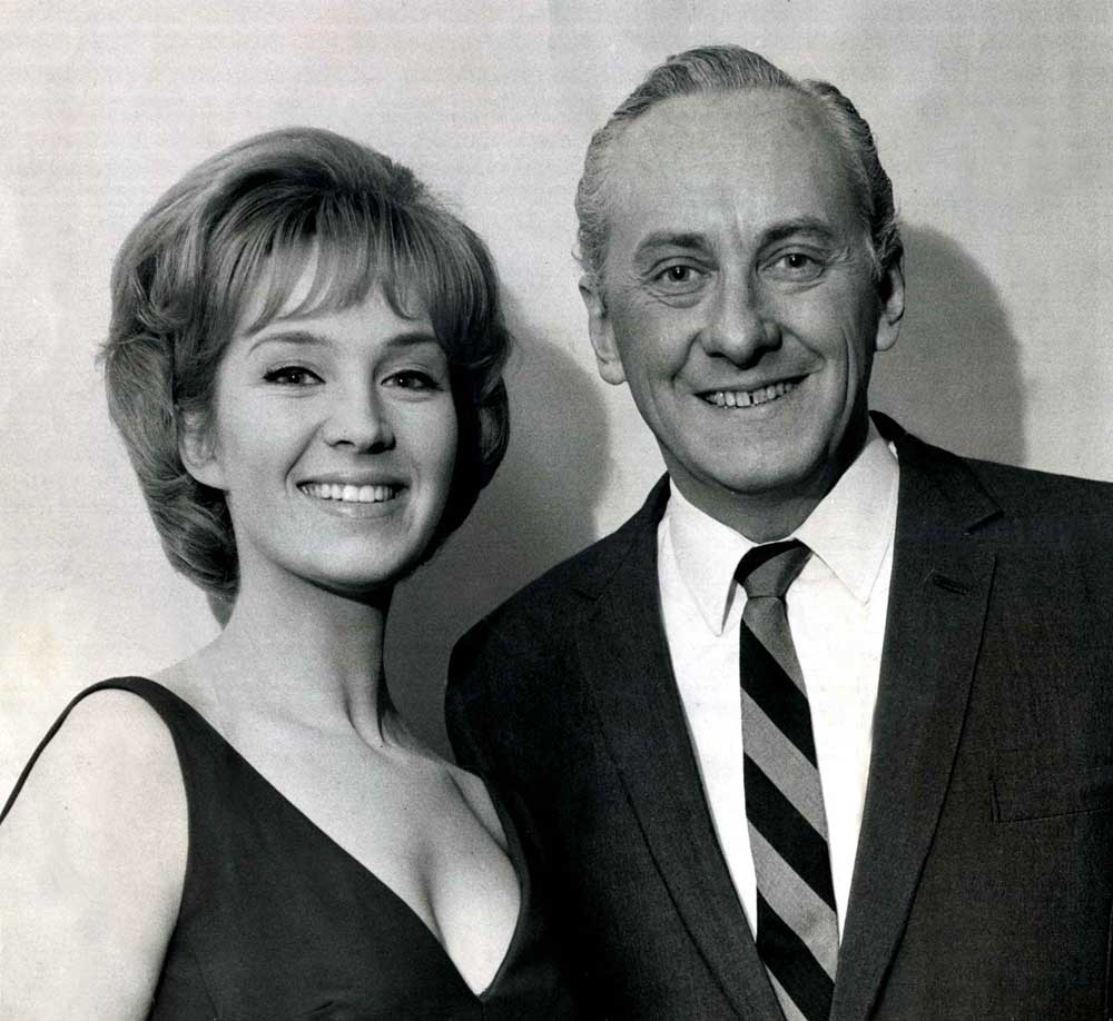 Opportunity Knocks host Hughie Green with actress Anita West, December 1966