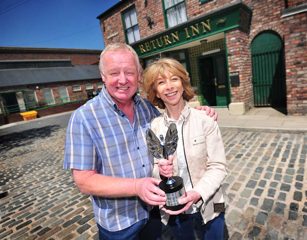 Les Dennis with Coronation Street co-star Helen Worth and Pride of Britain award, June 2015