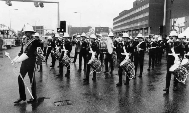 Royal Marines march through Manchester