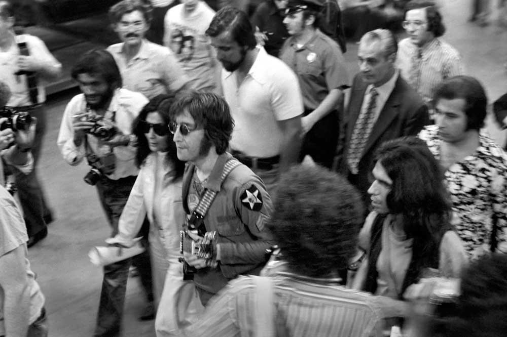 John Lennon and Yoko Ono at a New York charity concert, August 1972