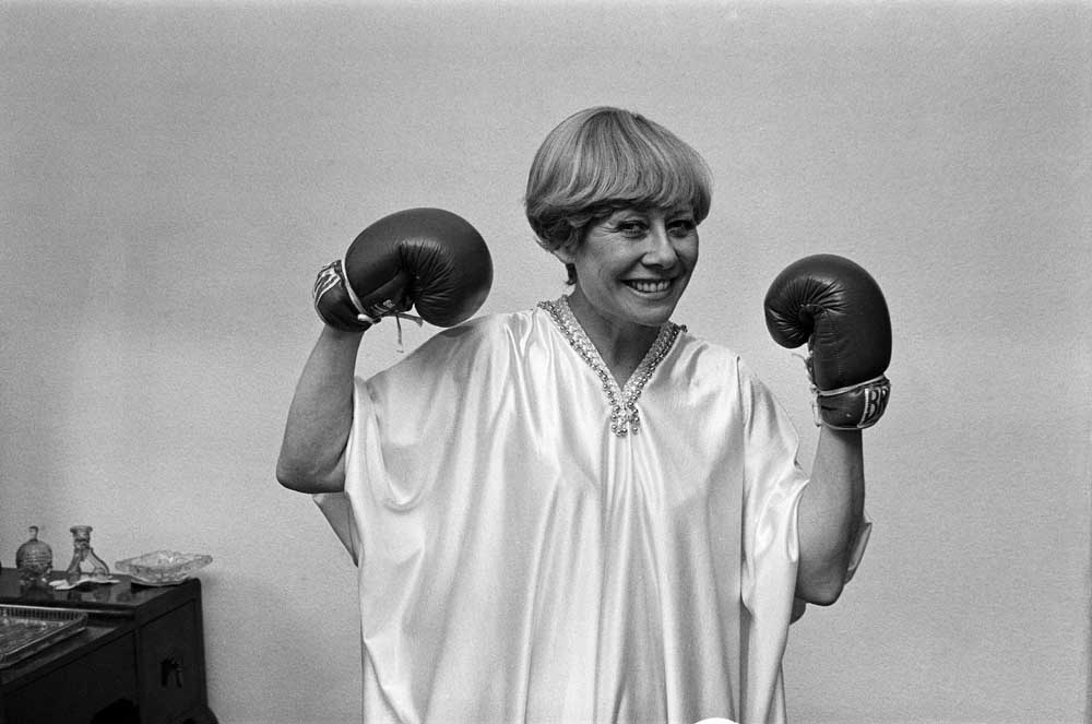 A formidable sight - Vera Duckworth in boxing gloves! May 1982