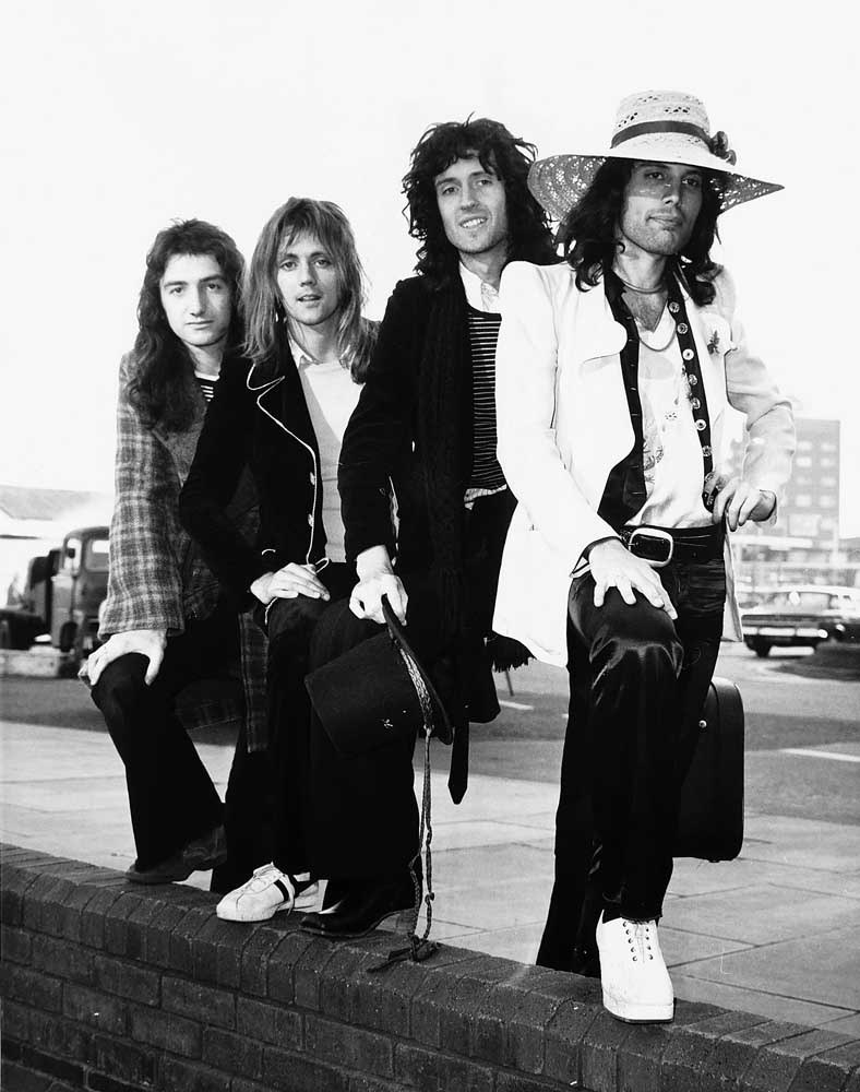 Roger Taylor, second left, with John Deacon, Brian May and Freddie Mercury of Queen, February 1974