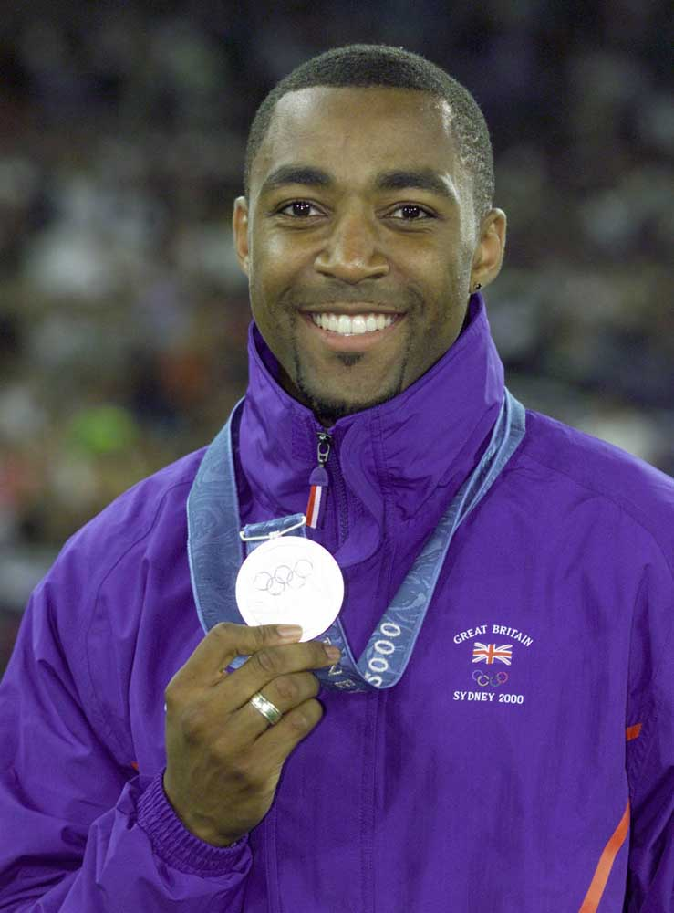 Darren Campbell with his 200m silver medal at the Sydney Olympics, September 2000