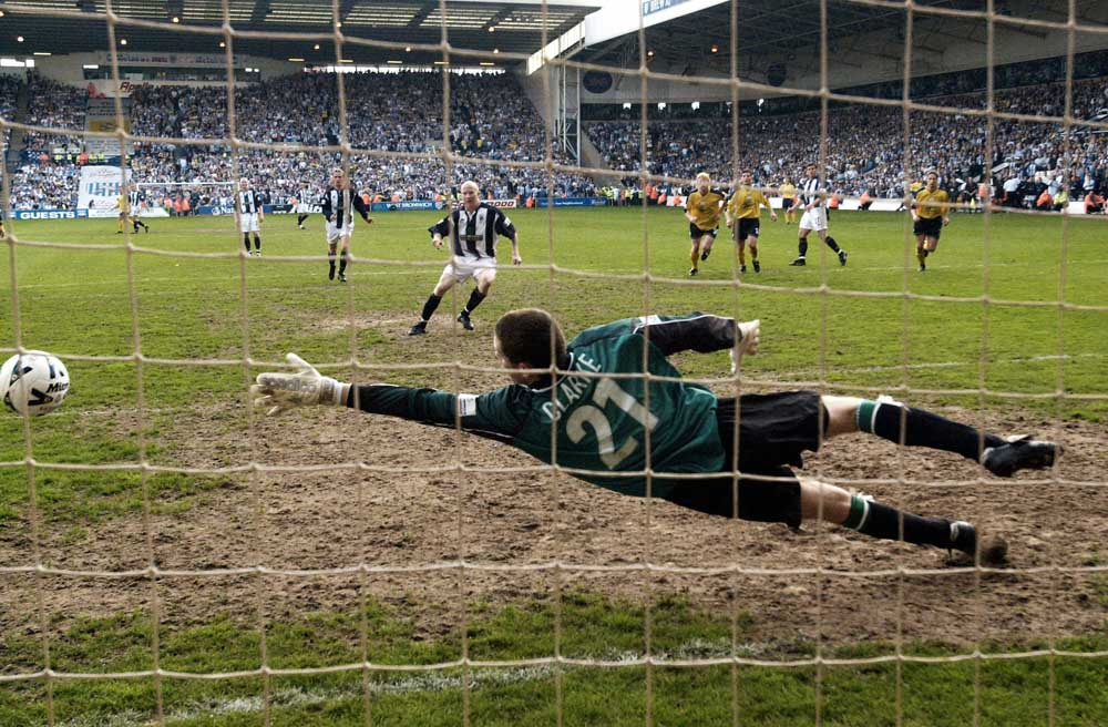 Bolton keeper Matt Clarke fails to stop a West Brom penalty in the promotion play-offs, May 2001