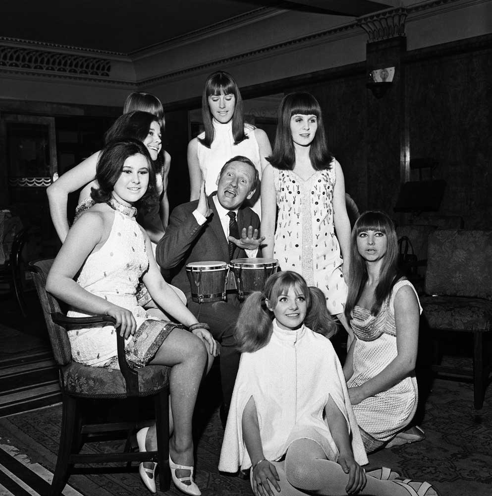 Leslie Phillips with the cast of On the Level at the Royal Court Theatre, February 1966
