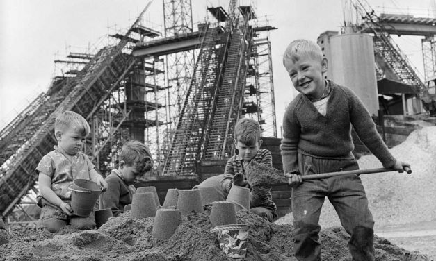 Sand castles at cathedral 1963