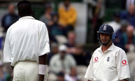 Cricket's Nasser Hussain and Curtly Ambrose at Old Trafford