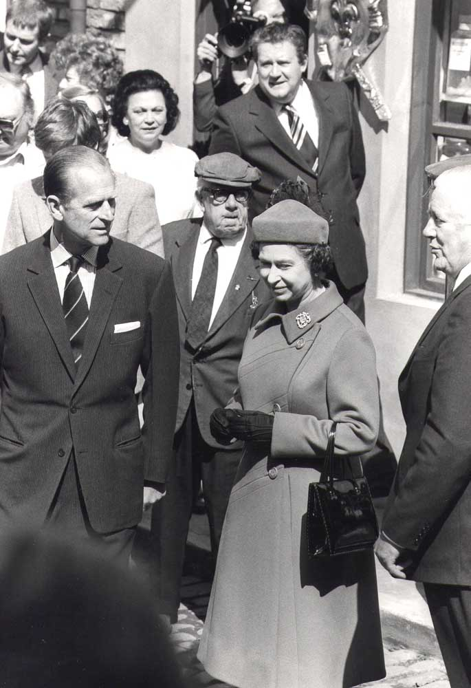 The Queen and the Duke of Edinburgh visit the Coronation Street set, May 1982