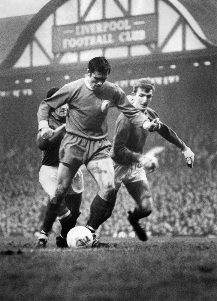 Liverpool's Tony Hateley in action against Bill Foulkes and Alex Stepney, November 1967