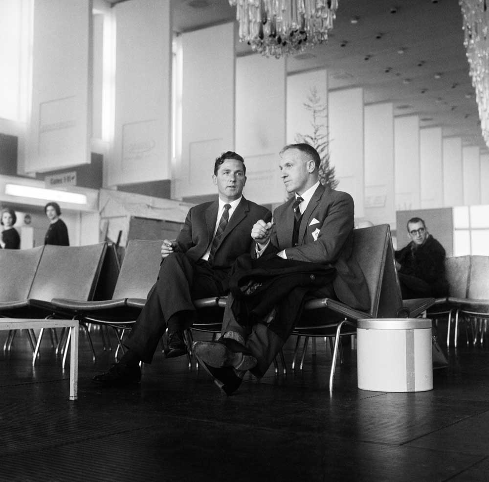 Bill Shankly, right, with Liverpool team coach driver Ted Hornby at Ringway Airport, May 1964