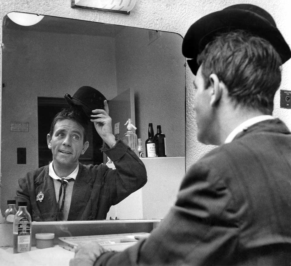 Norman Wisdom in reflective mood backstage in Manchester, September 1964