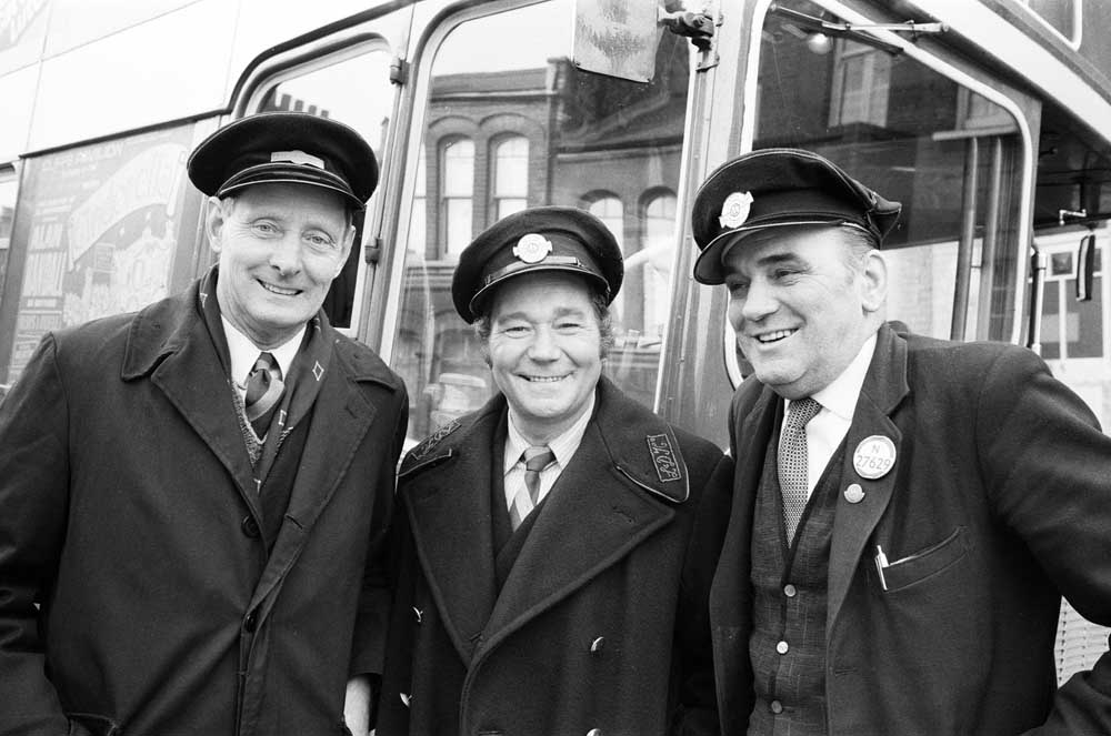 Reg Varney, centre, in On the Buses with stand-in drivers, December 1971